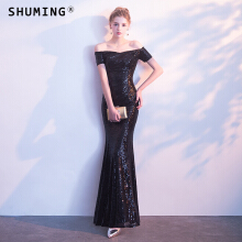 SHUMING- Dress Wedding dress Evening Dresses Black S