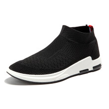 Zanzea Men Flyknit Mesh Fabric Breathable Sock Trainers Sport Casual Sneakers Black 43