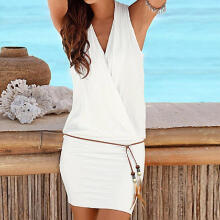 Womens Casual Sleeveless Retro Party Beach Mini Dress Beach Sun Dress_White_M