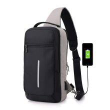 DXYIZU fashion men's diagonal bag portable USB charging chest bag shoulder bag