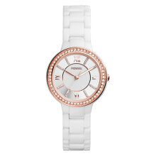 Fossil CE1082 Women Virginia White Ceramic Stainless Steel [CE1082]