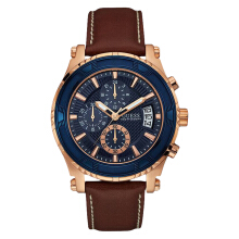 Guess Chronograph U0673G3 Men Blue Dial Brown Leather Strap [U0673G3]