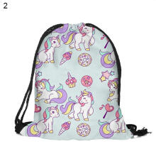 Farfi Women Girl Cartoon Unicorn Sport Gym Sack Drawstring Backpack Travel Storage Bag