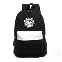 [TOWER PRO] Fashion BTS Soft Canvas Cloth Backpack Travel School Bag Printing Design black