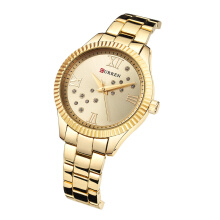 CURREN 9009 Watch Women Ladies Quartz Watches Crystal Design Wristwatch Relogio Feminino
