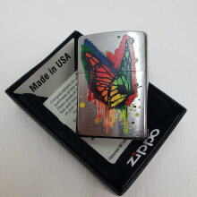 ZIPPO 29392  Butterfly Brushed Chrome Finish
