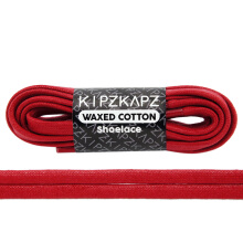 KIPZKAPZ WS40 Waxed Cotton Flat Shoelace - Gym Red [6mm]
