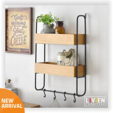 LIVIEN Furniture Rak Dinding Gantung Carlos - Industrial Series - Brown