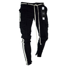 superlifetime Casual  Pants Military Work Cargo Camo Combat Plus Size Pant Side Stripe Hip Pop Style Streetwear Black M
