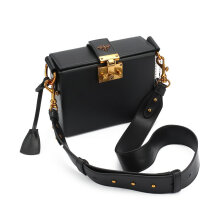 [LESHP]Vintage Style Smooth Genuine Cowhide Leather Lady Shoulder Bag Crossbody Black
