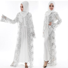 superlifetime Muslim Maxi Robe Cardigan Longue Robe Robes Jubah Kimono Ramadan Arabe White S