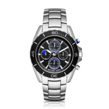 Michael Kors Jet Master - Black with Red Accents Round Dial 45mm - Stainless Steel - Silver - Chronograph - Jam Tangan Pria - MK8462 - SL