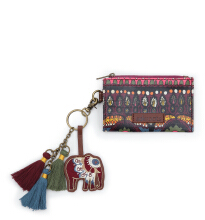 Sakroots Keychain Critter Card Purse Mulberry One World Multicolor