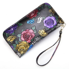 Zanzea Brenice Cowhide Embossed Flowers Clutches Bags Vintage Zipper Long Wallets Black