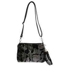 [LESHP]Elegant Lady Winter Plush Single Shoulder Bag Mobile Phones Coin Crossbody Grey