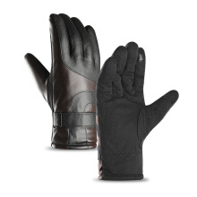 SiYing Men's Leather Gloves Winter Touch Screen Warm Riding Gloves