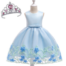 SESIBI Size 70~150 Girls Princess Dresses Beautifyl Flower Dress Kids Elegant Party Bow-knot Clothes Wedding Gown -Blue -