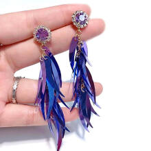 Jantens 2018 New Bright Rhinestone Long Sequins Purple Tassel Earrings For Women Temperament Purple