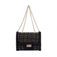 BESSKY Women Plush Wool Bag Tide Chain Single Shoulder Slanting Small Square Bag_