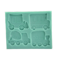 [COZIME] Bus Truck Car Shape Fondant Cake Mold Silicone Mould Home Baking DIY Tool green