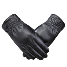 SiYing fashion leather gloves PU plus velvet warm men's driving gloves