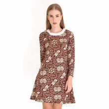 Rianty Marissa Dress Batik Wanita - Brown