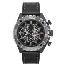 Expedition E 6755 MC LEPBA Chronograph Men Black Dial Black Leather Strap [EXF-6755-MCLEPBA]