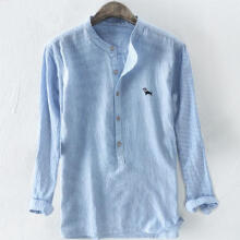 Men's Baggy Stripe Embroidery Cotton Linen Long Sleeve Button Plus Size T Shirts