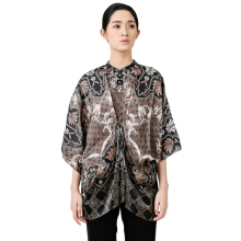 STUDIO 133 - BIYAN Satin Tucked Blouse Flower Damask Brown