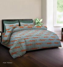 KING RABBIT Bedcover Double Motif Fox -Toska/ 230 x 230cm Turquoise