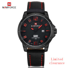 NAVIFORCE Top Brand Men Watch Leather Auto-Date Analog Quartz Wristwatch Mens Waterproof Sport Watches Black-Red