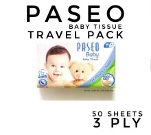 Paseo Baby Tissue Travel Pack 50 Sheets 3 Ply