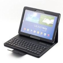 Samsung Galaxy Tab 10.1 Inch T520/ P600 EM88 Bluetooth Keyboard 2 in 1 Removable Wireless Optical Ultra Thin Leather Case Black