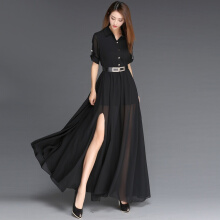 Allgood Fashion Women Dresses Large Size Slim Thin Black Long Spring Sweet Temperament slim wild party long dress