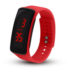 LED Outdoor Sports Soft Silicone Watchband Electronic Wrist Watch for Women White