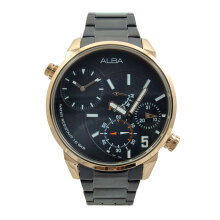 ALBA Jam Tangan Pria - Black Rosegold - Stainless Steel - A2A002