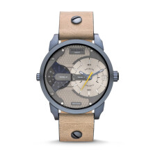 Diesel Mini Daddy - Taupe Round Dial 46mm - Leather Strap - Light Brown - Jam Tangan Pria - DZ7338