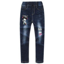 Farfi Fashion Letter Printed Ripped Elastic Band Girl Straight Denim Jeans Kids Pants