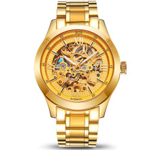 Zanzea 0051ANGELA BOS 9008 Mechanical Men Watch Automatic Pointer Black Dial Stainless Steel Watches Gold