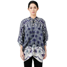 STUDIO 133 - BIYAN Satin Tucked Blouse Flower Damask Blue