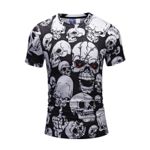 SESIBI 3D Fashion Shirts Women Men Cool Short Sleeve Tees Lovers Tops Printing Blouse S~3XL -Red Eyes Skull -