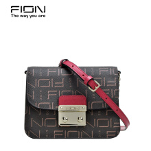 FION PU + Cow Leather Sling bag - Brown & Pink/Red/Silver