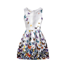 SESIBI Size 130~160 Girls Dresses Children Printing Wear Teen Summer Casual Clothes Kids -Butterfly -