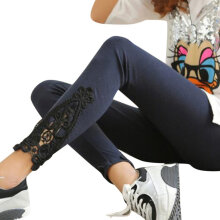 Fashion Women Sexy Lace Cotton High Waist Leggings Stretchy Pants Trousers Grey