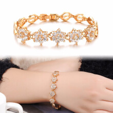 Jantens Ladies Charm Shining Cubic Zircon Crystal Bracelets Jewelry Accessories Gold