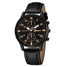 PEKY Mens Watches Fashion Casual Sport Quartz Watch Men Military Man Leather Business Wrist watch Black