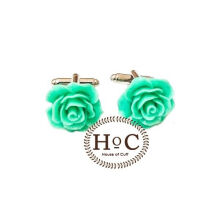 Houseofcuff  Cufflinks Manset Kancing Kemeja French Cuff FLOWER WAX GREEN CUFFLINKS Green