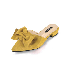 Suede Butterfly Knot Pointed Sandals Yellow 37