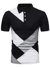 Fashionmall Diagonal Print Panel Color Block Polo T-shirt