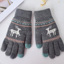 Glove Mitten Women Full Finger Gloves Autumn Winter Knitting Wool Gloves Grey